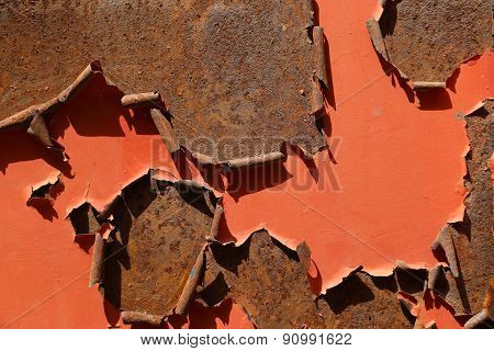 Painted Rusty Metal Surface.