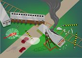 Rescue Operation over a Train Accident Wreckage along a road concept. Editable EPS10 Illustration and jpg raster. poster