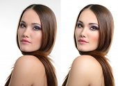 Portrait of beautiful girl before and after retouching. Aging and youth, acne beauty treatment. poster