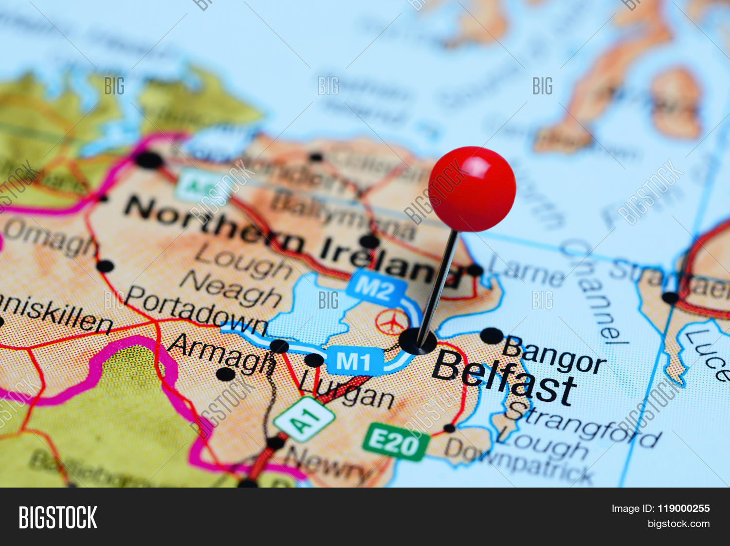 Belfast pinned on map northern image photo bigstock belfast pinned on a map of northern ireland gumiabroncs Images