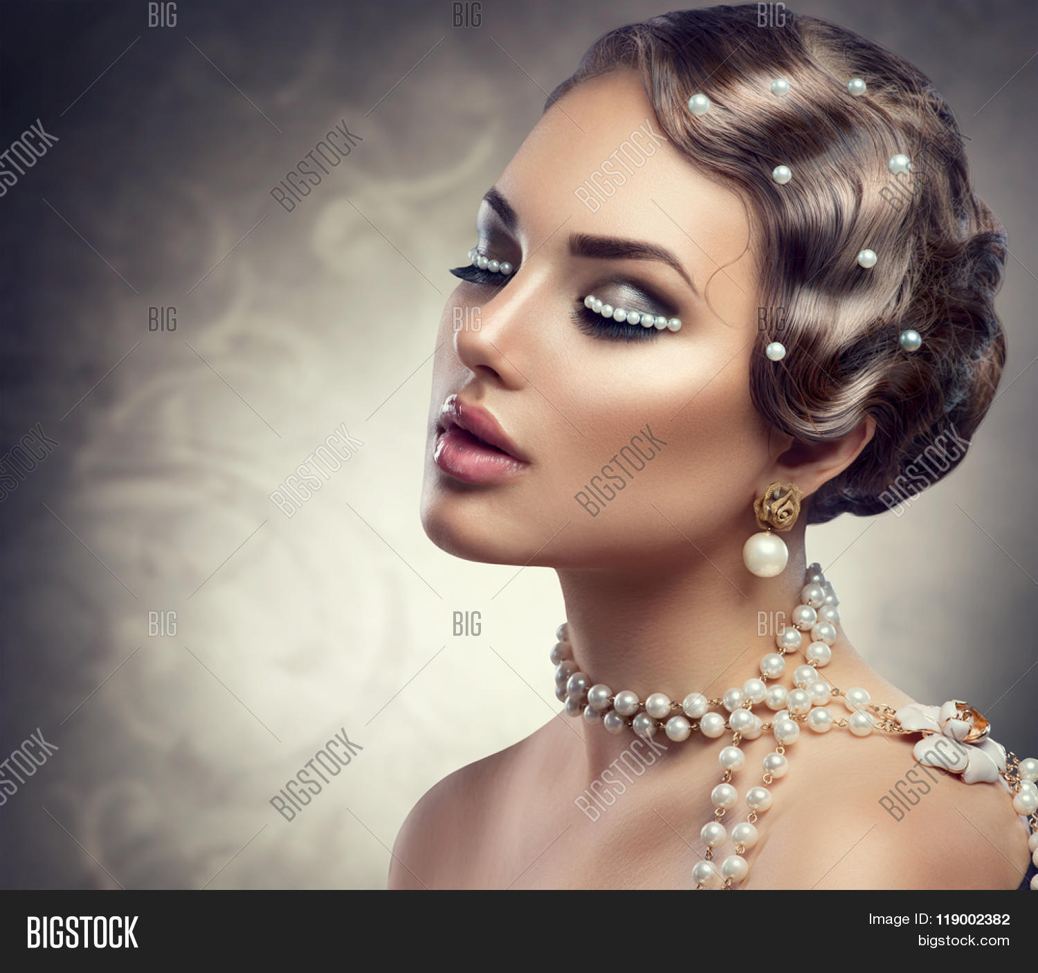 Pearl Makeup >> Retro Styled Makeup Image Photo Free Trial Bigstock
