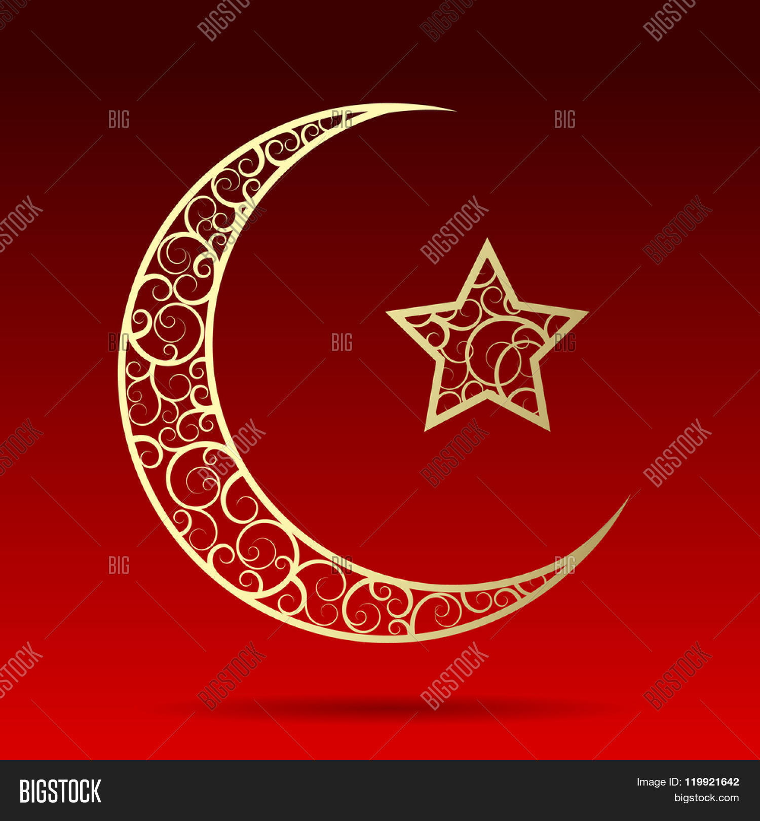 Crescent gold moon star isolated on image photo bigstock crescent gold moon with star isolated on dark red background islamic design ramadan kareem greeting biocorpaavc Gallery