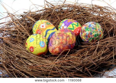 Easter Eggs On A Nest