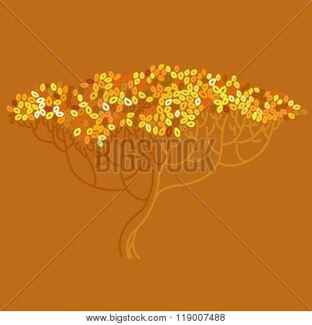 Stylized Abstract Orange Defoliation Tree Illustration