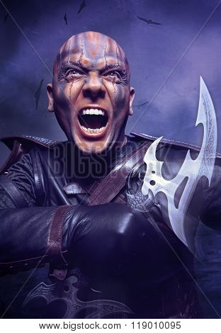 Portrait of man with steel double-bladed glaive poster