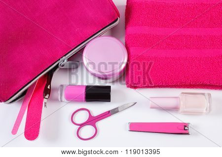 Cosmetics And Accessories For Manicure Or Pedicure With Pink Bag Cosmetic, Concept Of Nail Care