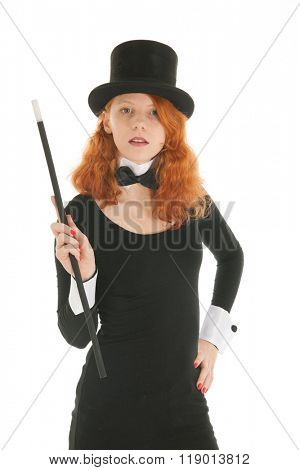 Woman as luxury dandy with black hat and stick isolated over white background