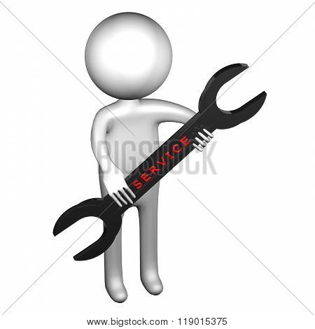 3D Man With Wrench With Word Service