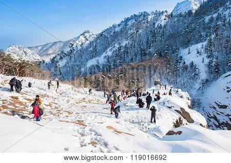Tourists taking photos of the beautiful scenery around Seoraksan, South Korea