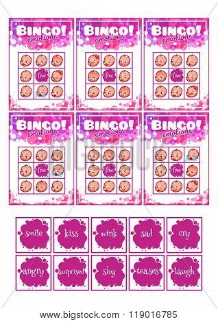 Education Bingo Game For Preschool Kids With Different Baby Emotions.