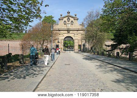 Prague, Czech Republic - April 25, 2010: Vysehrad Gate (leopold Gate), Vysehradska Brana, Czech Repu