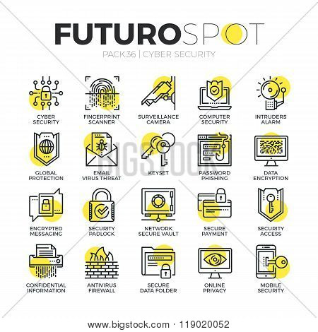 Cyber Security Futuro Spot Icons