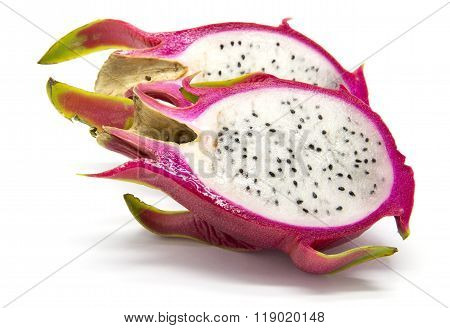 Sliced pitahaya (dragon fruit) on white isolated background exoctic fruit from Vietnam