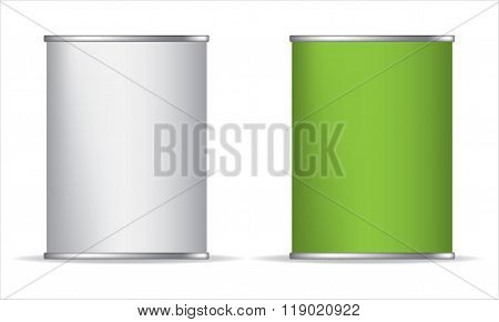 Tin box can packaging container isolated vector illustration. Green White