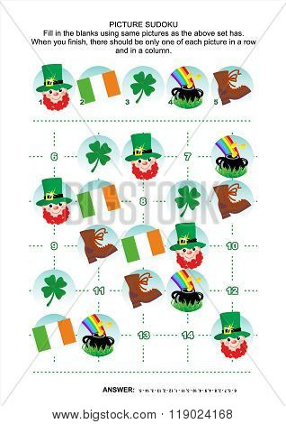Picture sudoku puzzle, St. Patrick's Day themed