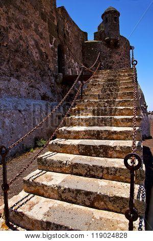 Step Arrecife  Drawbridge  Lanzarote  Spain The Old Wall Castle  Sentry Tower