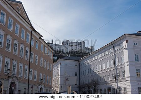 Street View In The Historic Oldtown Of Salzburg