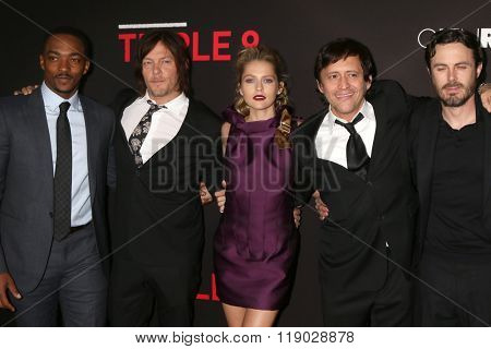 LOS ANGELES - FEB 16:  Anthony Mackie, Norman Reedus, Teresa Palmer, Clifton Collins Jr, Casey Affleck at the Triple 9 Premiere at the Regal 14 Theaters on February 16, 2016 in Los Angeles, CA