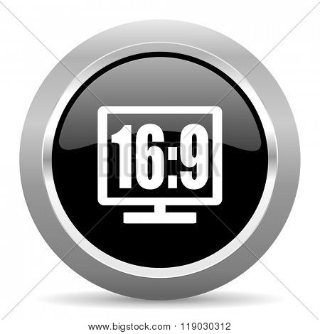 16 9 display black metallic chrome web circle glossy icon