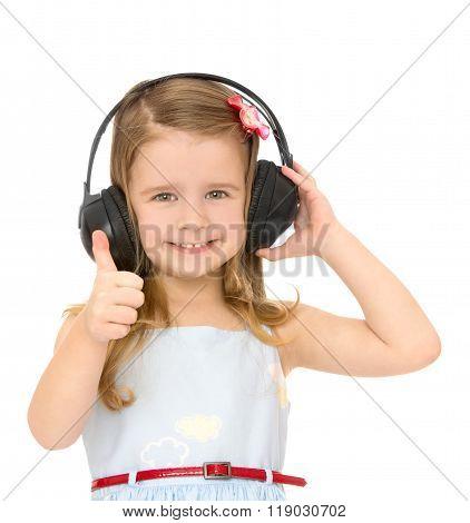 Girl in big headphones stereo