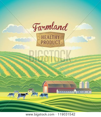 Rural landscape with farm and a herd of cows. Farmland.
