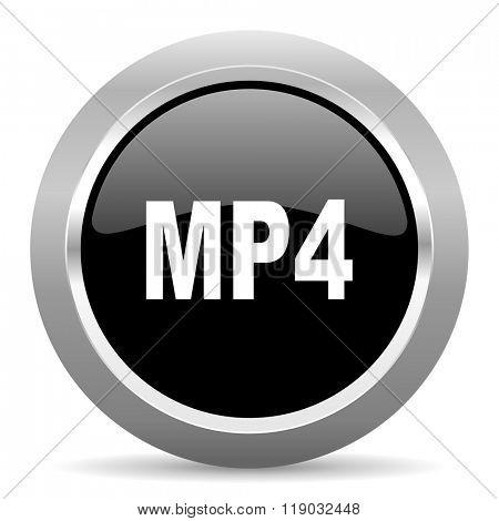 mp4 black metallic chrome web circle glossy icon