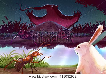 Cartoon Illustration Of A Red Ant Telling Story To White Rabbit About A Terrifying Giant Anteater Mo