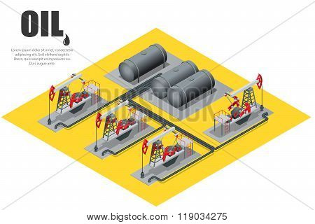 Oil field extracting crude oil. Oil pump. Oil industry equipment. Flat 3d Vector isometric illustrat