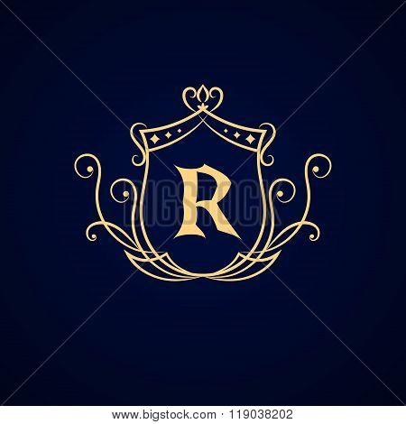 Vector illustration of Monogram design elements graceful template. Elegant line art logo design. Business sign identity for Restaurant Royalty Boutique Cafe Hotel Heraldic Jewelry Fashion. poster