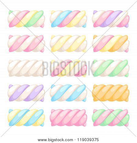 Marshmallow twists set vector illustration.