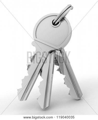 Bunch of  keys from house isolated on white background