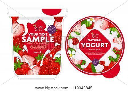 Strawberry Yogurt Packaging Design Template.
