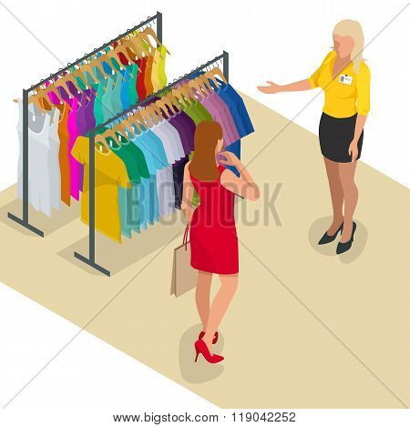 Beautiful brunette doing shopping in clothes store. Shopping time. Woman at the checkout makes shopp