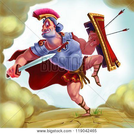 Roman Soldier Character In Uniform