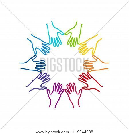 People Colorful Hands United Together.