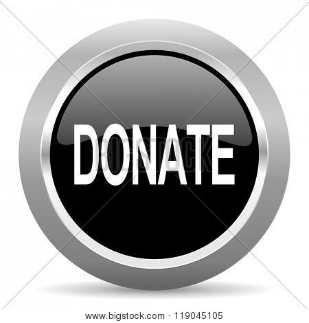 donate black metallic chrome web circle glossy icon