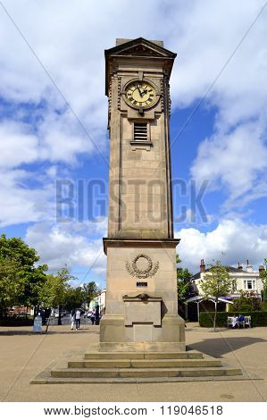 Clock tower in Jephson Gardens in Leamington Spa