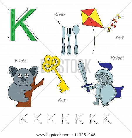 Tracing Worksheet for children. Full english alphabet from A to Z pictures for letter K the colorful version.