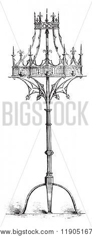 Lights crown the fifteenth century, Belgium, vintage engraved illustration. Magasin Pittoresque 1880.