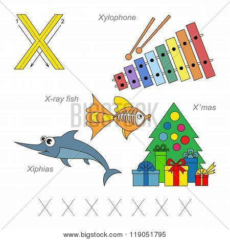 Tracing Worksheet for children. Full english alphabet from A to Z pictures for letter X the colorful version.