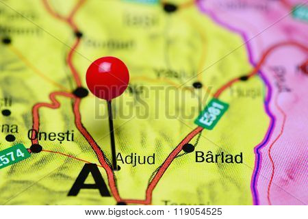 Adjud pinned on a map of Romania