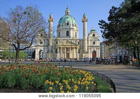 Vienna, Austria - April 25, 2013: Saint Charles's Church (wiener Karlskirche) At Karlsplatz In Vienn