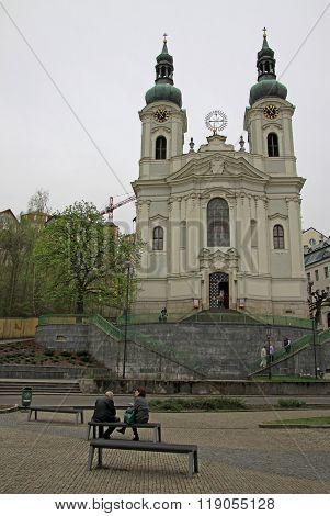 Karlovy Vary, Czech Republic - April 27, 2013: Church Of St. Mary Magdalene In Karlovy Vary Or Carls