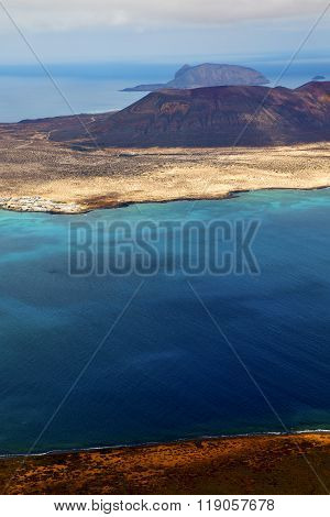 Spain Miramar Del Rio Harbor  Cloud Beach  Boat    In Lanzarote  Graciosa