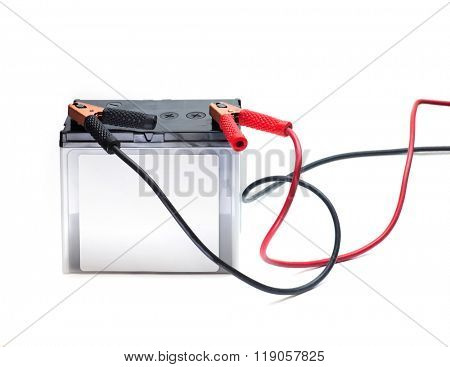 A Car battery with red and black battery Jumper or booster cables with copper clamps attached to the terminals. Automotive battery isolated on white. poster