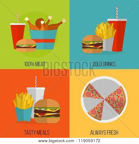 Fast Food Vector Concept Banner. Lunch French Fries, Chicken, Donut, Pizza, Burger, Soda. Flat Desig
