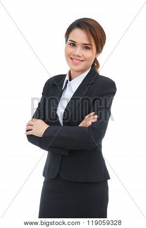 Asian Business Woman With Arms Folded Smiling Isolated On White Background