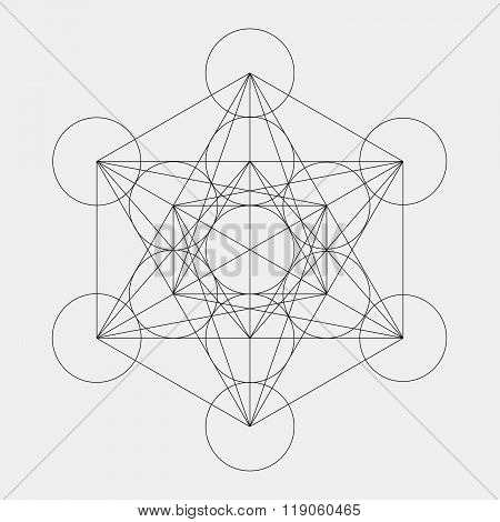 Metatron's Cube. Flower Of Life. Vector Geometric Symbol Isolated. Sacred Geometric Figure Named Met