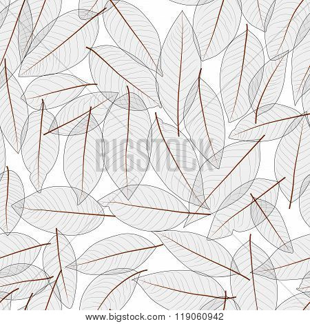 Transparent Leaves Pattern Seamless Background