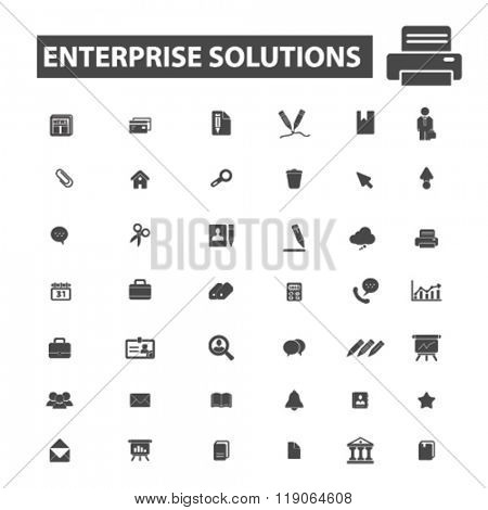 enerprise icons, enerprise logo, solution icons vector, solution flat illustration concept, solution infographics elements isolated on white background, solution logo, solution symbols set, company